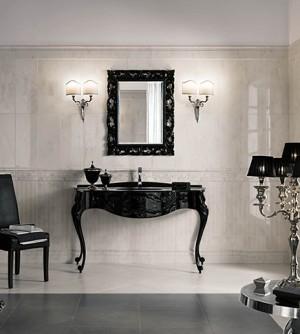 Mobile bagno a terra classico 700 Veneziano nero lucido, misura cm 144