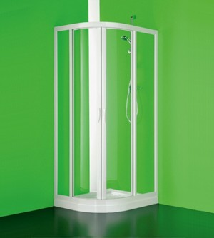 Box doccia asimmetrico stondata, misura cm.70-66x90-65 (r=38), cabina scorrevole in pvc