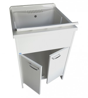 Mobile lavatoio, cm.60x60x88, 2 ante, vasca  e asse lavapanni, in resina bianco