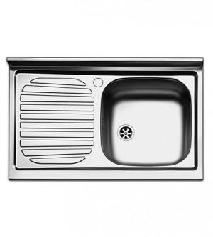 Lavello cucina appoggio Apell Pisa acciaio Inox,cm.80x50,vasca singola a destra