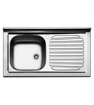 Lavello  cucina  appoggio  Apell  mod. Pisa  in  acciaio  Inox,  misura cm.90x50, con vasca singola a sinistra e gocciolatoio a destra, completo di scarico