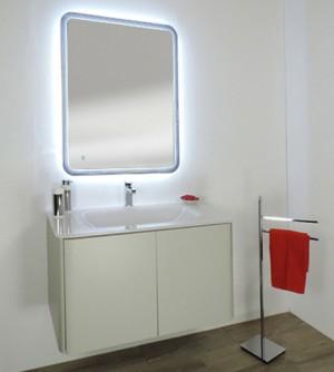 Mobile bagno sospeso moderno Liverpool grigio soft, misura cm 94, lavabo in cristallo, senza specchio a led