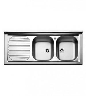Lavello cucina appoggio Apell mod.Pisa acciaio Inox,cm.120x50, 2 vasche a destra