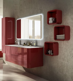 Mobile bagno sospeso moderno Liverpool rosso, cm 140, lavabo, colonna e pensili