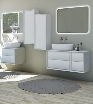 Mobile bagno sospeso moderno Bellagio sospeso bianco opaco, misura cm 105, con specchio a led, top, lavabo e colonna