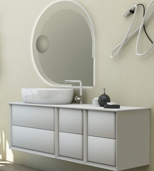 Mobile bagno sospeso moderno Bellagio sospeso bianco opaco, misura cm 140, con specchio a led, top e lavabo