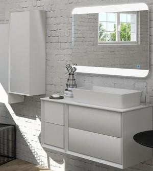 Mobile bagno sospeso moderno Bellagio sospeso bianco opaco, misura cm 105, con specchio a led, top, lavabo e 2 colonne