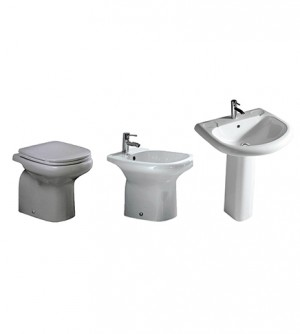 Sanitari bagno vaso a terra,bidet,lavabo con colonna, senza coprivaso,Orient Rak