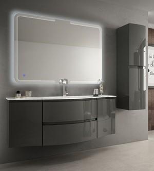 Mobile bagno sospeso moderno Vague grigio antracite, misura cm 138, con specchio a led, lavabo e colonna