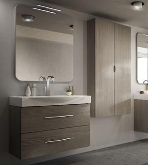 Mobile bagno moderno New York sospeso larice, misura cm 84, con specchio, lavabo e colonna