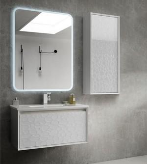 Mobile bagno sospeso moderno Venus bianco anta rilievo, misura cm 75, con specchio a led,lavabo e colonna