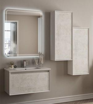 Mobile bagno sospeso moderno Venus bianco disegno vintage, misura cm 75, con specchio a led,lavabo e colonna