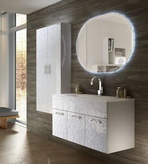 Mobile bagno sospeso Floreale Miami bianco lucido,cm 100,specchio a led e lavabo