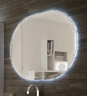 Specchiera specchio filo lucido, retroilluminato a led touch,cm.75x100 ovale decoro barocco