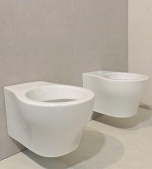 Sanitari bagno vaso wc water sospeso con bidet, senza coprivaso, Vera Azzurra