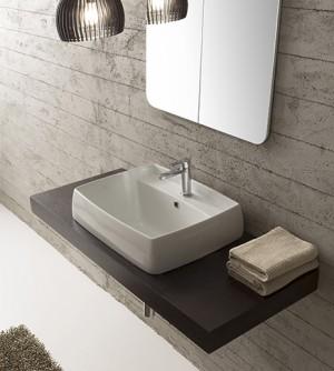 Lavabo bagno arredo design incasso, in ceramica bianca, cm.60x46, Arco Scarabeo