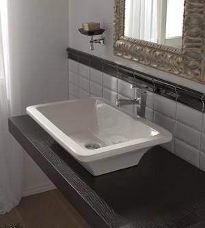 Lavabo bagno design retrò appoggio, ceramica bianca, cm 60x42 Butterfly Scarabeo