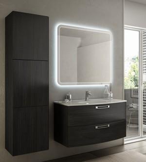 Mobile bagno sospeso Comfort grigio, misura cm 100, con specchio led, lavabo e 2 colonne