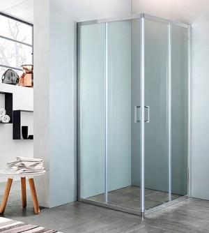 Box doccia ad angolo in cristallo trasparente, misura cm.68/70 x 118/120,cromato