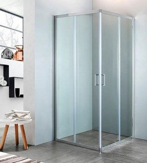 Box doccia ad angolo in cristallo trasparente, misura cm.78/80 x 118/120, cromato