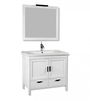 Mobile bagno a terra classico Topazio, misura cm 96, lavabo in porcellana, specchiera con cornice e applique, colore rovere bianco opaco