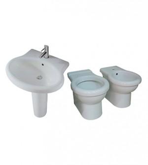 Sanitari bagno vaso a terra,bidet e lavabo con colonna,senza coprivaso, Kerasan Volant, ceramica bianca
