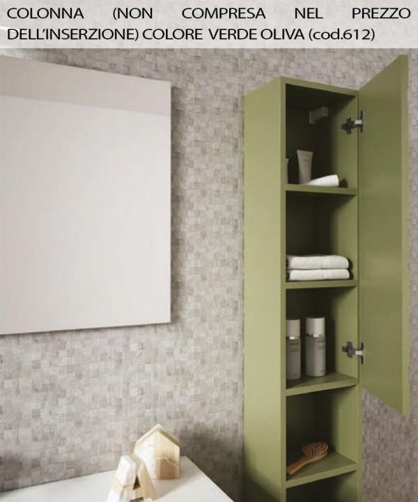 Mobile bagno sospeso 3D con decoro a cerchi bianco cm105,specchio e  applique led