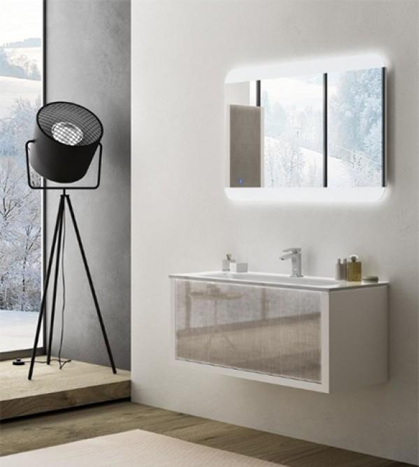 Arredo Bagno In Vetro.Mobile Bagno Sospeso Moderno Roxanne Bianco Vetro Cm 100 Con Specchio A Led Lavabo In Vetro E Colonna Vetro