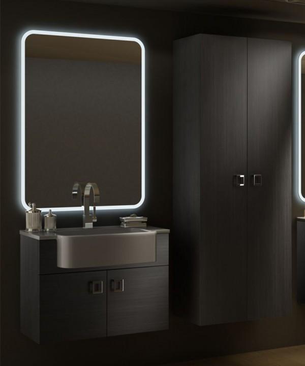 Mobile bagno sospeso moderno florida grigio misura cm 70 con specchio a led lavabo e colonna - Mobile bagno a colonna con specchio ...