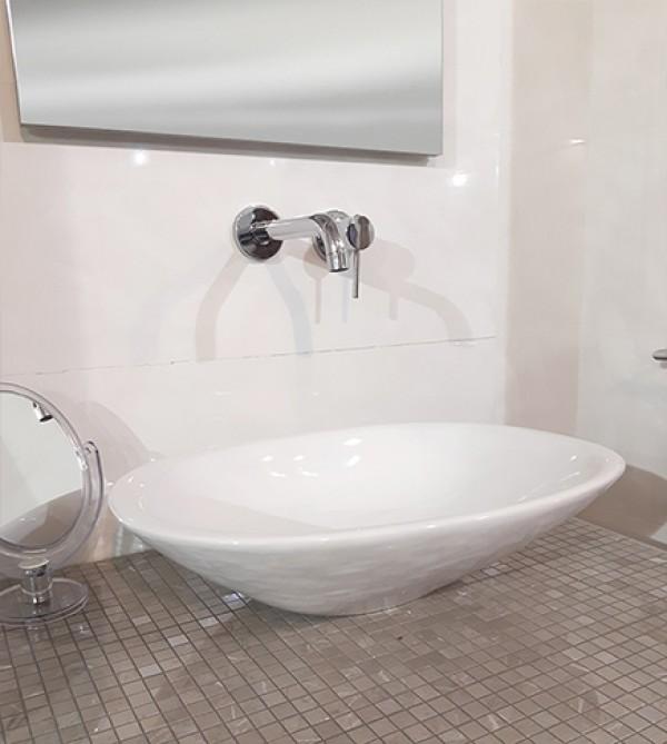 Lavabo lavandino da bagno ovale da appoggio rak morning bianco alpino arredobagno e - Lavandino da appoggio bagno ...