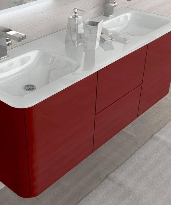 Mobile bagno sospeso moderno liverpool rosso misura cm - Mobile bagno rosso ...