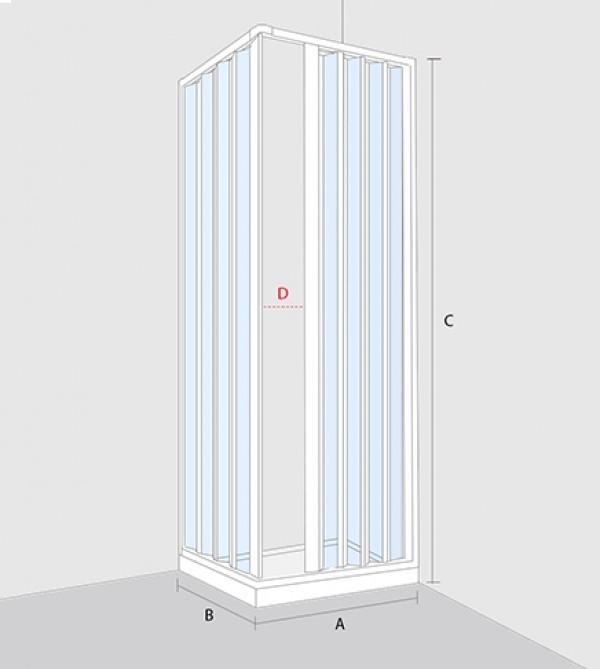 Box doccia angolare, misura cm.80/60X80/60, cabina a soffietto ...