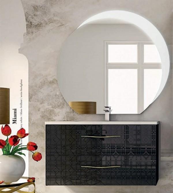Specchio Bagno Led 100.Mobile Bagno Sospeso Moderno Floreale Miami Nero Cm 100 Specchio