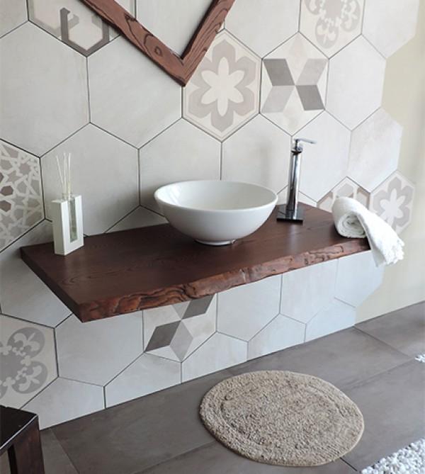 Mensola piano d 39 appoggio porta lavabo in legno massello - Lavelli da appoggio per bagno ...