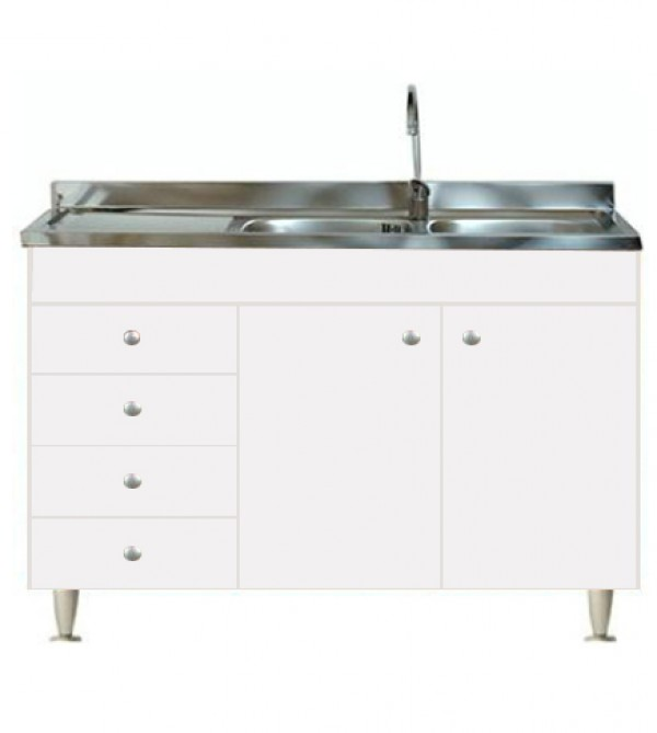 Mobile Con Lavello Cucina.Mobile Cucina 2 Ante Completo Di Lavello Inox 120 Componibile Sottolavello Arredobagno E Cucine S R L S