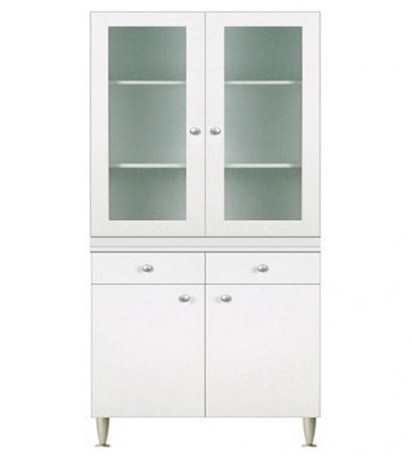 Mobile cucina componibile cm.80, con vetrina 2 ante, colore bianco ...