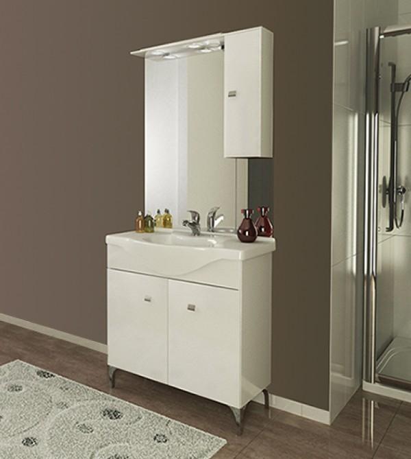 Mobile bagno moderno Moon bianco con lavabo in ceramica e specchiera ...