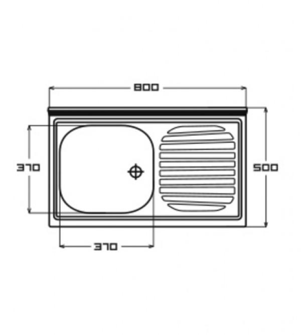 Lavello cucina appoggio Appel mod. Pisa in acciaio Inox, misura cm ...
