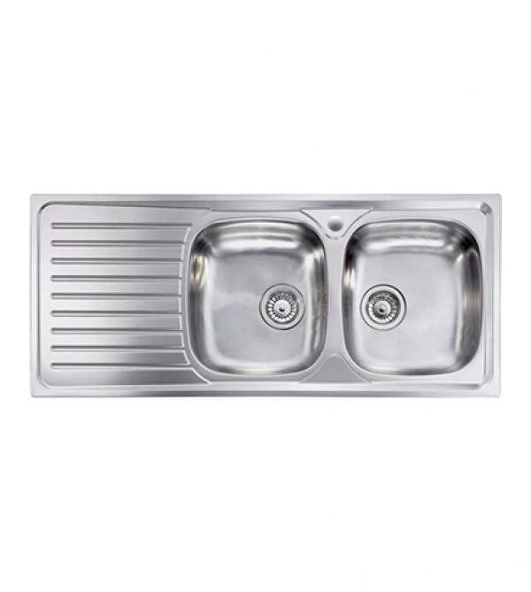 Lavello cucina Siros ad incasso acciaio Inox, cm.116x50, 2 vasche a destra