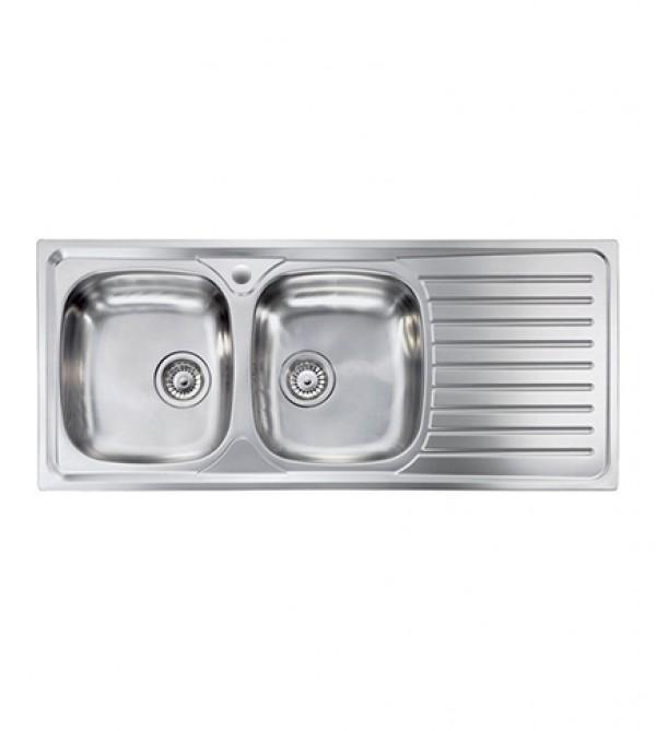 Lavello cucina Siros ad incasso in acciaio Inox, misura cm.116x50 ...