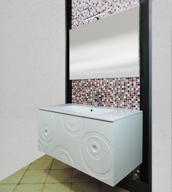 Specchi Decorati Per Bagno.Mobile Bagno Sospeso 3d Con Decoro A Cerchi Bianco Cm105 Specchio E Applique Led