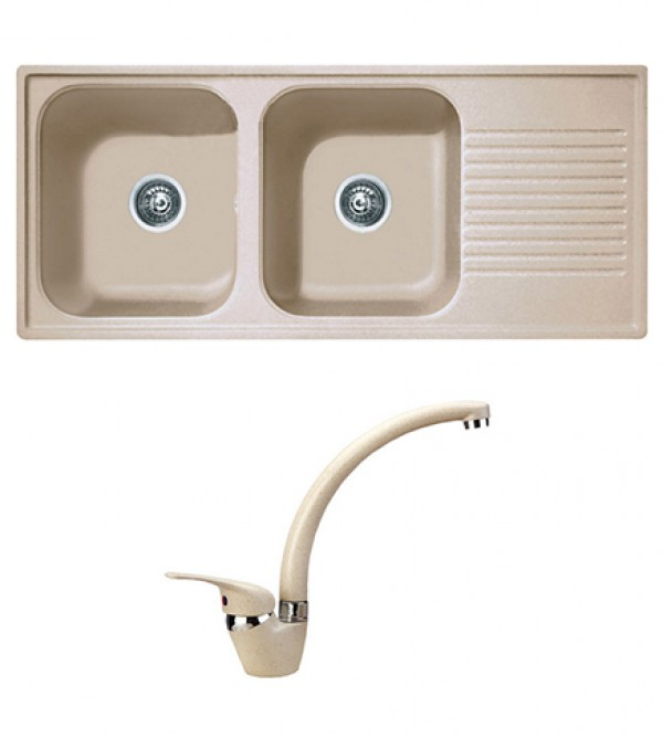 Lavello cucina Telma ad incasso completo di rubinetto monocomando ...