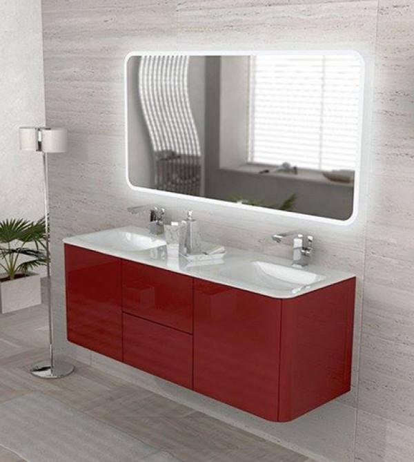 Mobile bagno sospeso moderno rosso, misura cm 140, specchio, 2 ...