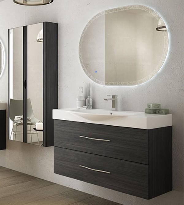 Mobili Bagno Per Lavandino Con Colonna.Mobile Bagno Sospeso Moderno New York Grigio Misura Cm 104 Con