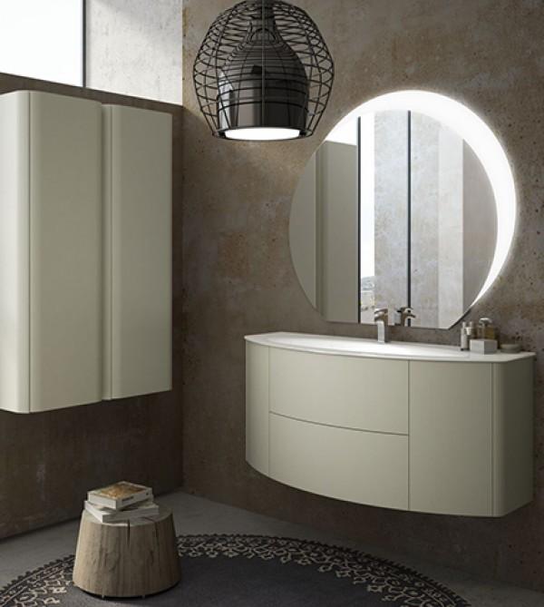 Specchio Bagno 120 X 60.Mobile Bagno Sospeso Moderno Eden Touch Grigio Natura Misura Cm