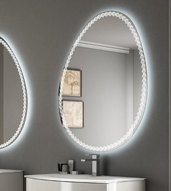 Specchiera specchio filo lucido bagno, retroilluminato led,design,cm.98x75  curvo