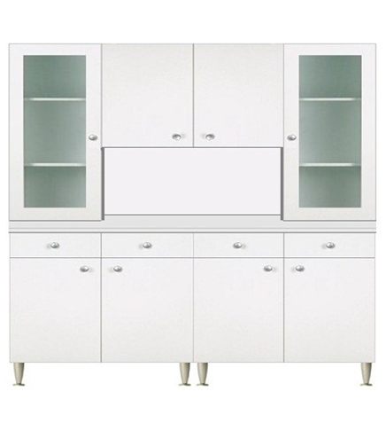Dettagli su Mobile cucina componibile cm.160, con vetrina 2 ante, colore  bianco